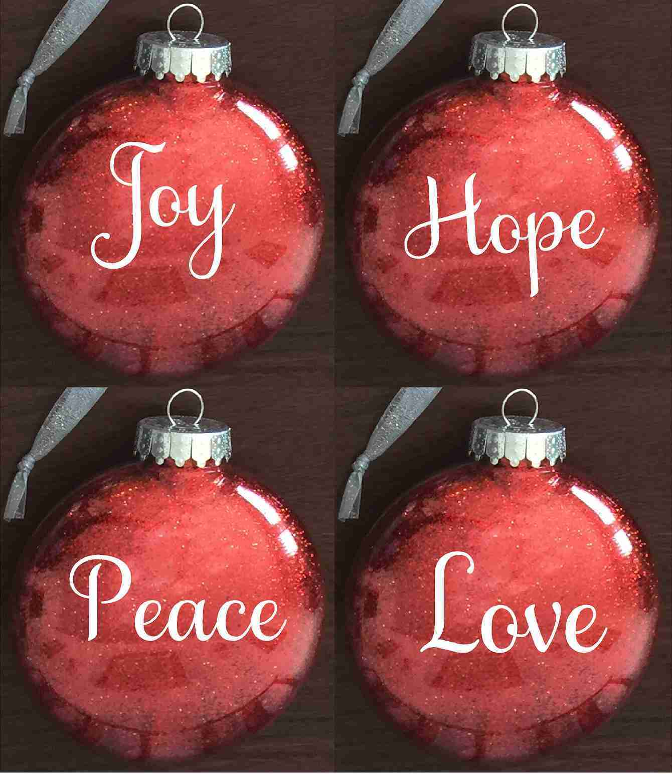 Glitter Gift Ornament Set Joy Hope Peace And Love